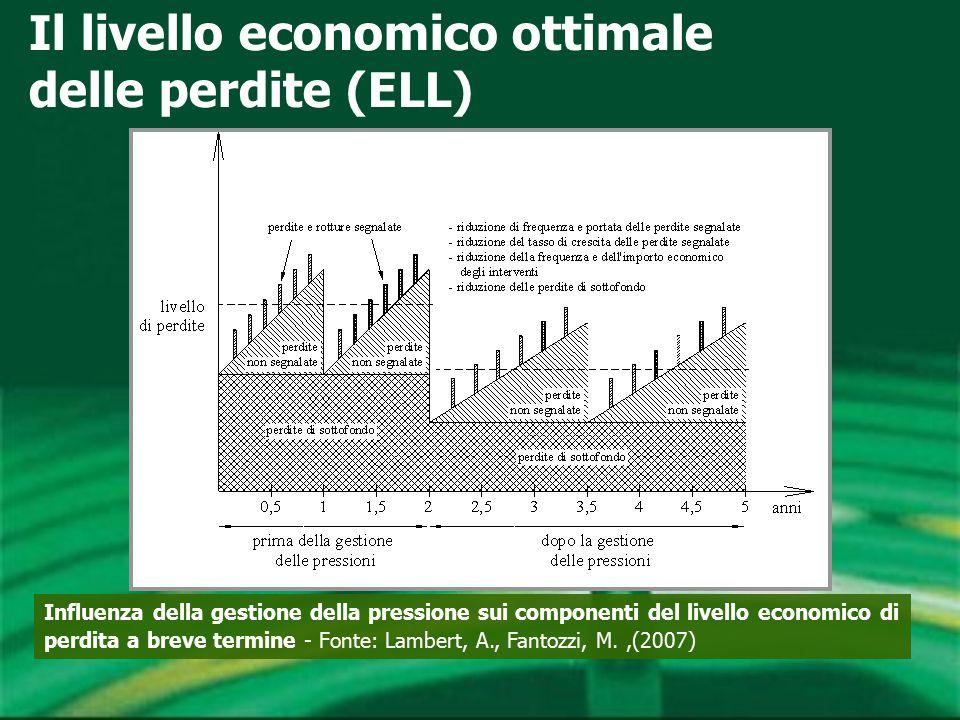 Influenza della gestione della pressione sui componenti del livello economico di perdita a breve termine - Fonte: Lambert, A., Fantozzi, M.,(2007) Il livello economico ottimale delle perdite (ELL)