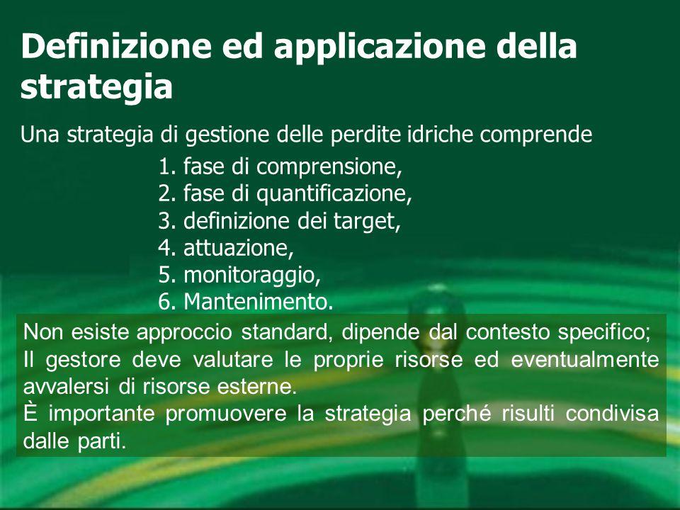 Definizione ed applicazione della strategia Una strategia di gestione delle perdite idriche comprende 1.fase di comprensione, 2.fase di quantificazione, 3.definizione dei target, 4.attuazione, 5.monitoraggio, 6.Mantenimento.