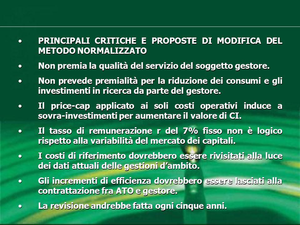 PRINCIPALI CRITICHE E PROPOSTE DI MODIFICA DEL METODO NORMALIZZATO Non premia la qualità del servizio del soggetto gestore.
