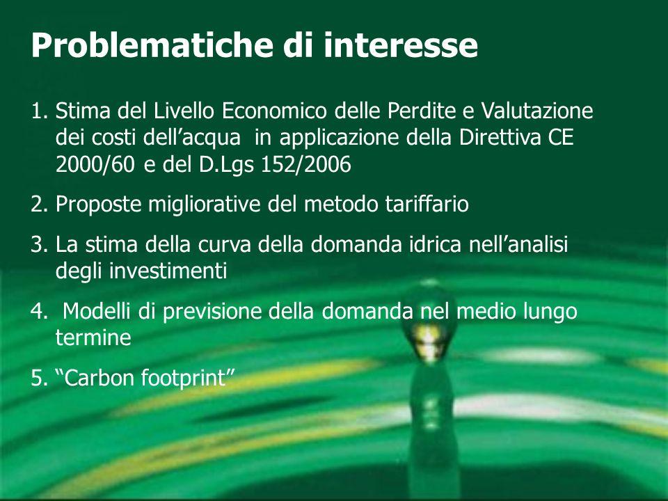 Problematiche di interesse 1.Stima del Livello Economico delle Perdite e Valutazione dei costi dell'acqua in applicazione della Direttiva CE 2000/60 e