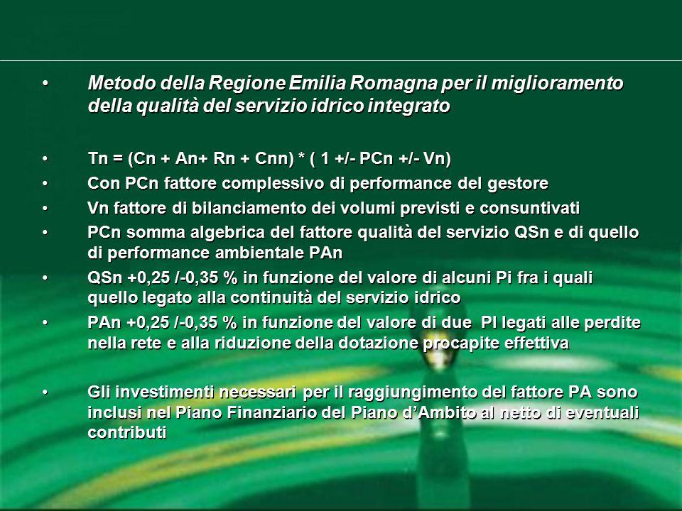 Metodo della Regione Emilia Romagna per il miglioramento della qualità del servizio idrico integrato Tn = (Cn + An+ Rn + Cnn) * ( 1 +/- PCn +/- Vn) Con PCn fattore complessivo di performance del gestore Vn fattore di bilanciamento dei volumi previsti e consuntivati PCn somma algebrica del fattore qualità del servizio QSn e di quello di performance ambientale PAn QSn +0,25 /-0,35 % in funzione del valore di alcuni Pi fra i quali quello legato alla continuità del servizio idrico PAn +0,25 /-0,35 % in funzione del valore di due PI legati alle perdite nella rete e alla riduzione della dotazione procapite effettiva Gli investimenti necessari per il raggiungimento del fattore PA sono inclusi nel Piano Finanziario del Piano d'Ambito al netto di eventuali contributi Metodo della Regione Emilia Romagna per il miglioramento della qualità del servizio idrico integrato Tn = (Cn + An+ Rn + Cnn) * ( 1 +/- PCn +/- Vn) Con PCn fattore complessivo di performance del gestore Vn fattore di bilanciamento dei volumi previsti e consuntivati PCn somma algebrica del fattore qualità del servizio QSn e di quello di performance ambientale PAn QSn +0,25 /-0,35 % in funzione del valore di alcuni Pi fra i quali quello legato alla continuità del servizio idrico PAn +0,25 /-0,35 % in funzione del valore di due PI legati alle perdite nella rete e alla riduzione della dotazione procapite effettiva Gli investimenti necessari per il raggiungimento del fattore PA sono inclusi nel Piano Finanziario del Piano d'Ambito al netto di eventuali contributi