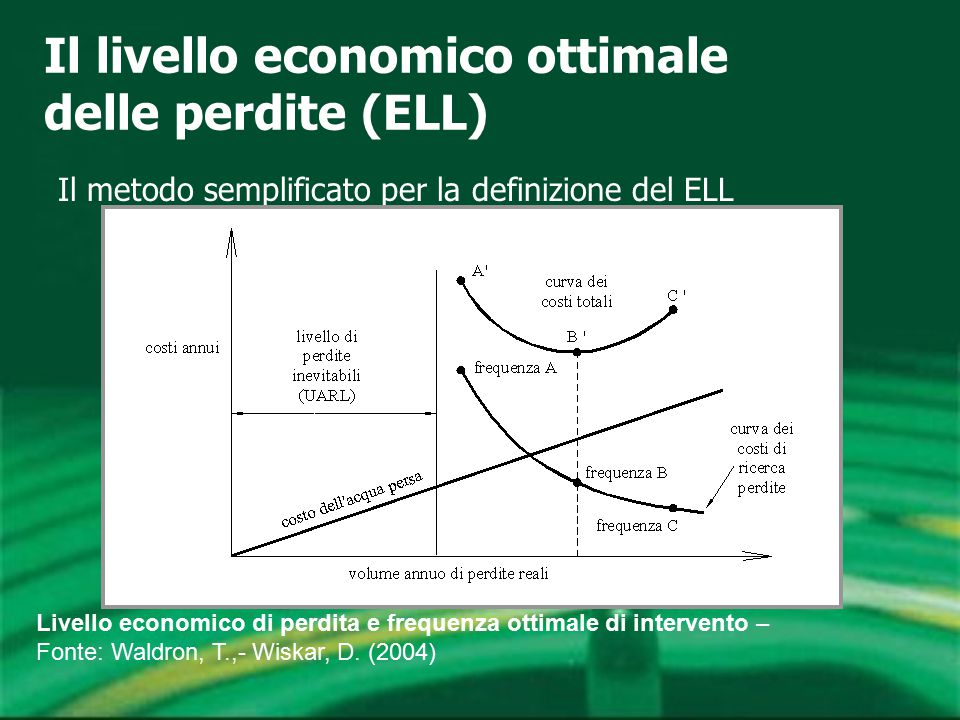 Il livello economico ottimale delle perdite (ELL) Il metodo semplificato per la definizione del ELL Livello economico di perdita e frequenza ottimale di intervento – Fonte: Waldron, T.,- Wiskar, D.
