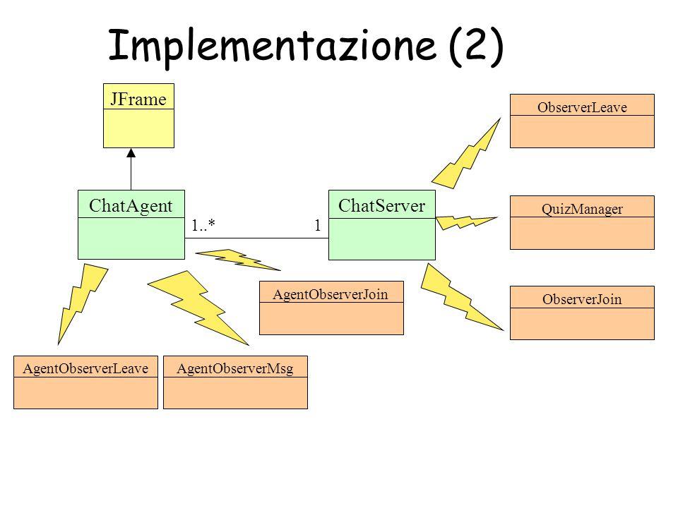 Implementazione (2) ChatAgentJFrame AgentObserverLeave ChatServer 11..* AgentObserverJoinAgentObserverMsgObserverLeaveObserverJoinQuizManager