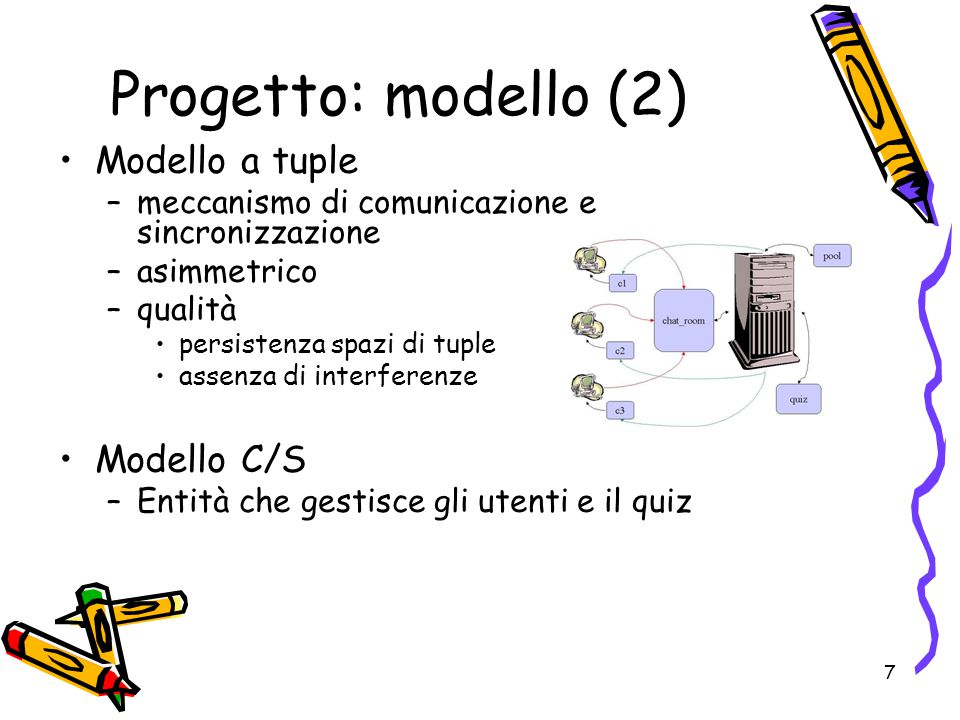 7 Modello a tuple –meccanismo di comunicazione e sincronizzazione –asimmetrico –qualità persistenza spazi di tuple assenza di interferenze Modello C/S –Entità che gestisce gli utenti e il quiz Progetto: modello (2)