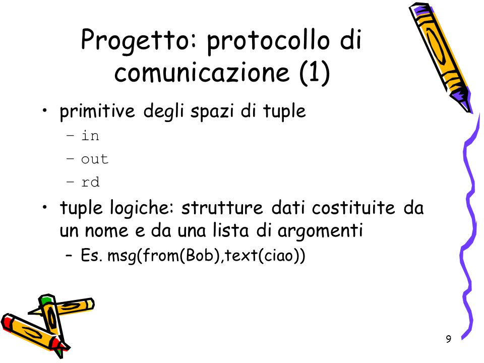 9 primitive degli spazi di tuple –in –out –rd tuple logiche: strutture dati costituite da un nome e da una lista di argomenti –Es. msg(from(Bob),text(
