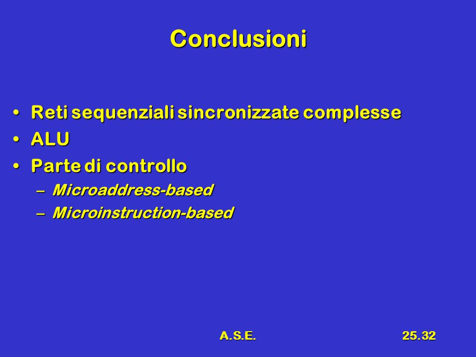 A.S.E.25.32 Conclusioni Reti sequenziali sincronizzate complesseReti sequenziali sincronizzate complesse ALUALU Parte di controlloParte di controllo –Microaddress-based –Microinstruction-based
