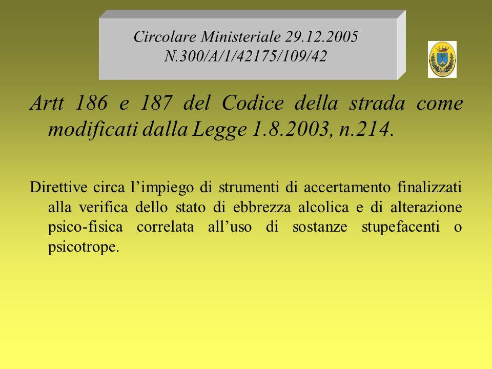 Circolare Ministeriale 29.12.2005 N.300/A/1/42175/109/42 Artt 186 e 187 del Codice della strada come modificati dalla Legge 1.8.2003, n.214. Direttive