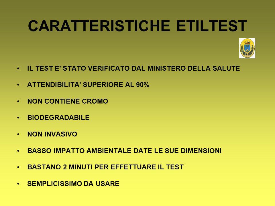 CARATTERISTICHE ETILTEST IL TEST E' STATO VERIFICATO DAL MINISTERO DELLA SALUTE ATTENDIBILITA' SUPERIORE AL 90% NON CONTIENE CROMO BIODEGRADABILE NON