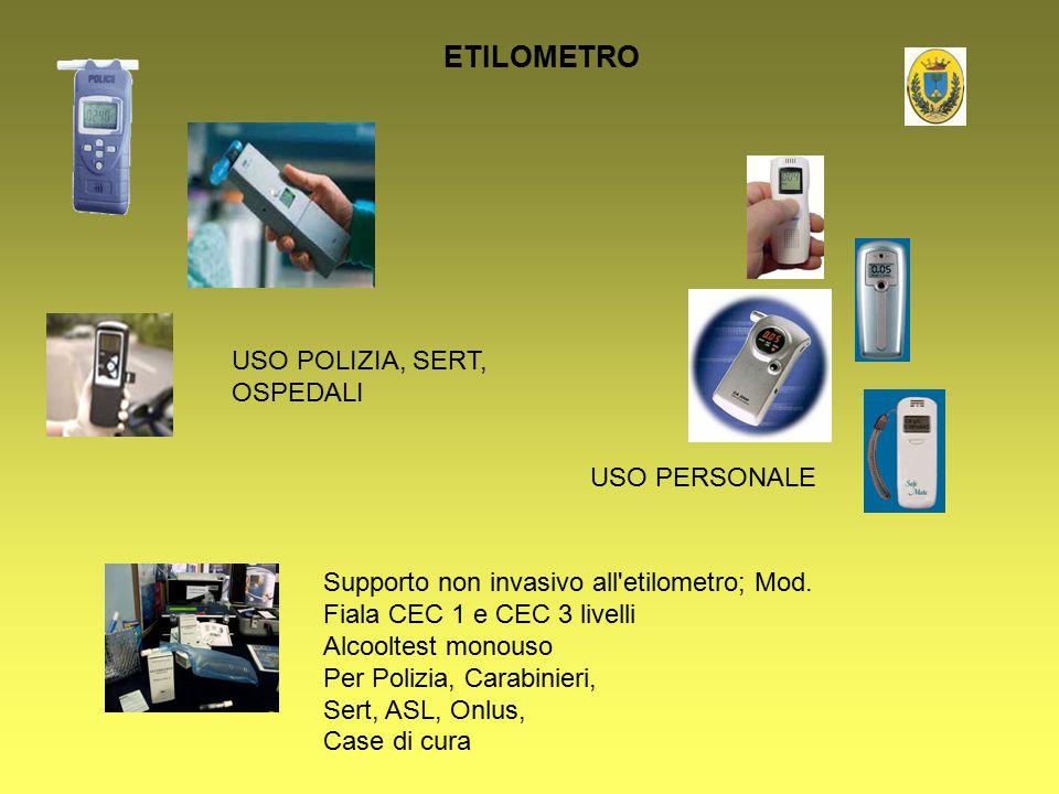 ETILOMETRO USO POLIZIA, SERT, OSPEDALI USO PERSONALE Supporto non invasivo all'etilometro; Mod. Fiala CEC 1 e CEC 3 livelli Alcooltest monouso Per Pol