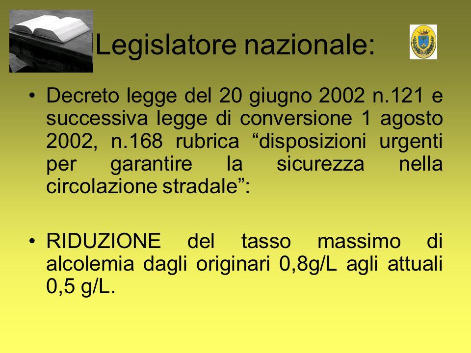 """Legislatore nazionale: Decreto legge del 20 giugno 2002 n.121 e successiva legge di conversione 1 agosto 2002, n.168 rubrica """"disposizioni urgenti per"""