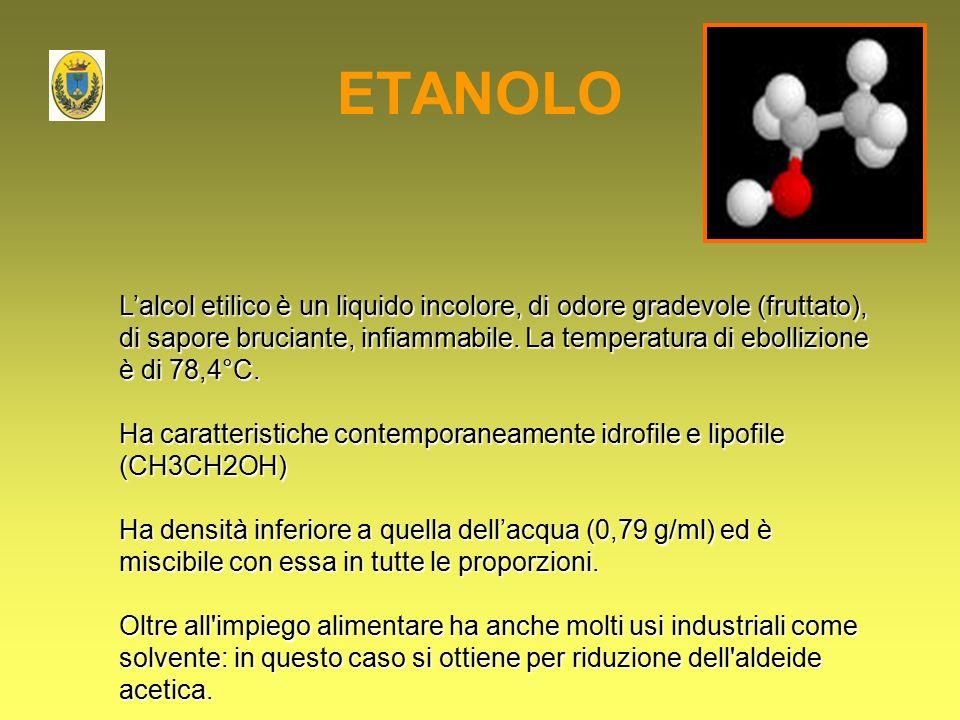 ETANOLO L'alcol etilico è un liquido incolore, di odore gradevole (fruttato), di sapore bruciante, infiammabile. La temperatura di ebollizione è di 78