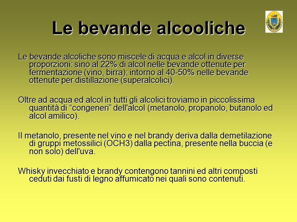 Le bevande alcooliche Le bevande alcoliche sono miscele di acqua e alcol in diverse proporzioni: sino al 22% di alcol nelle bevande ottenute per ferme