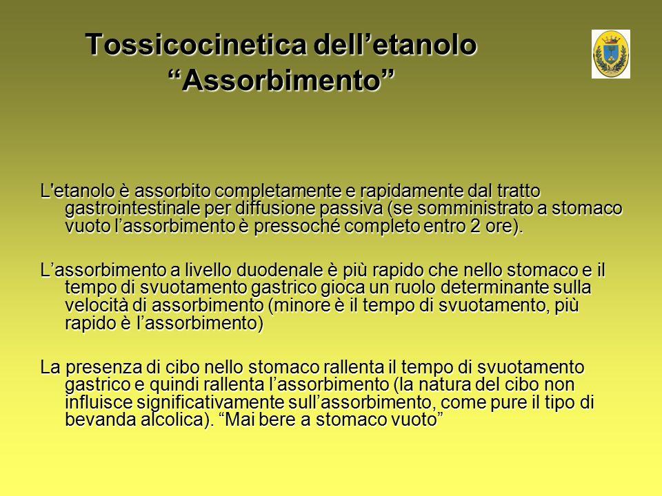 """Tossicocinetica dell'etanolo """"Assorbimento"""" L'etanolo è assorbito completamente e rapidamente dal tratto gastrointestinale per diffusione passiva (se"""