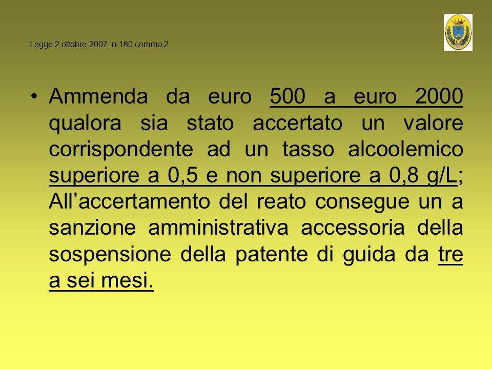 Ammenda da euro 500 a euro 2000 qualora sia stato accertato un valore corrispondente ad un tasso alcoolemico superiore a 0,5 e non superiore a 0,8 g/L