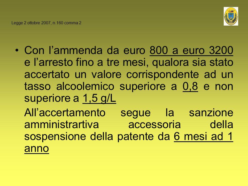 Con l'ammenda da euro 800 a euro 3200 e l'arresto fino a tre mesi, qualora sia stato accertato un valore corrispondente ad un tasso alcoolemico superi