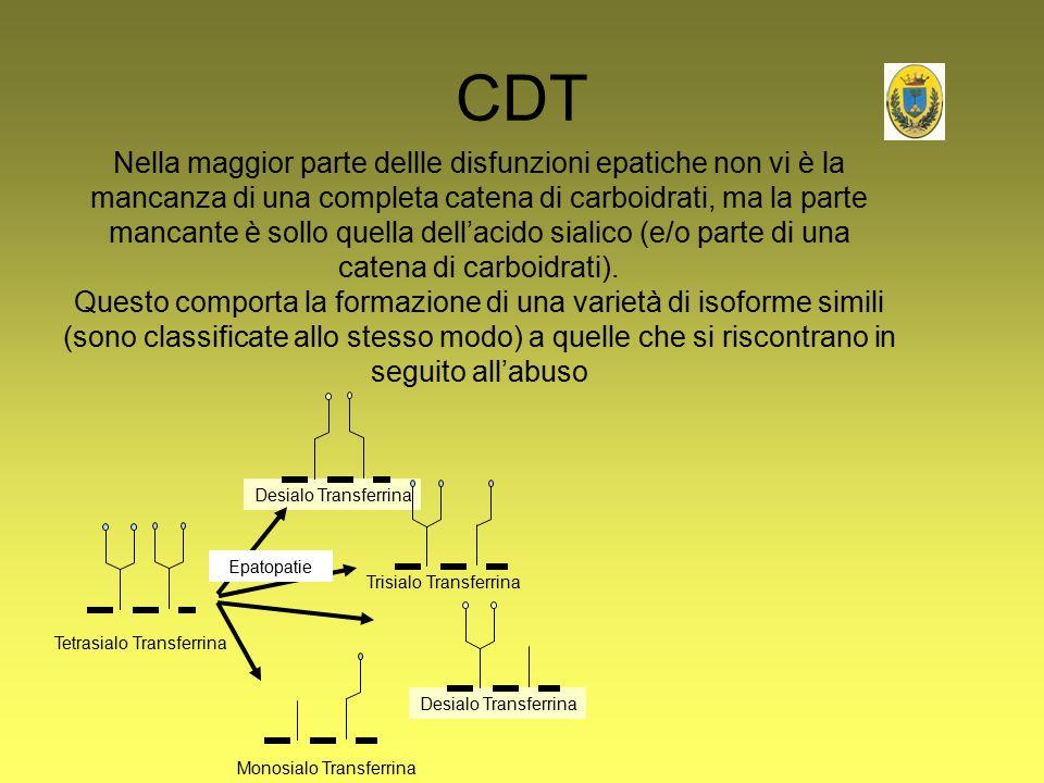 CDT Tetrasialo Transferrina Desialo Transferrina Monosialo Transferrina Trisialo Transferrina Desialo Transferrina Epatopatie Nella maggior parte dell