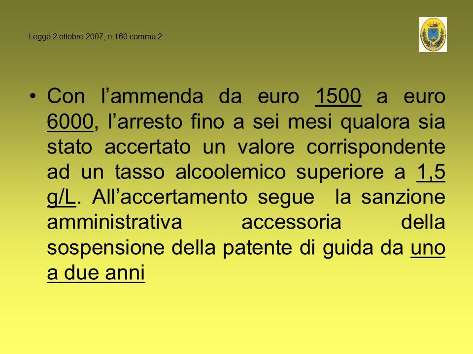 Con l'ammenda da euro 1500 a euro 6000, l'arresto fino a sei mesi qualora sia stato accertato un valore corrispondente ad un tasso alcoolemico superio