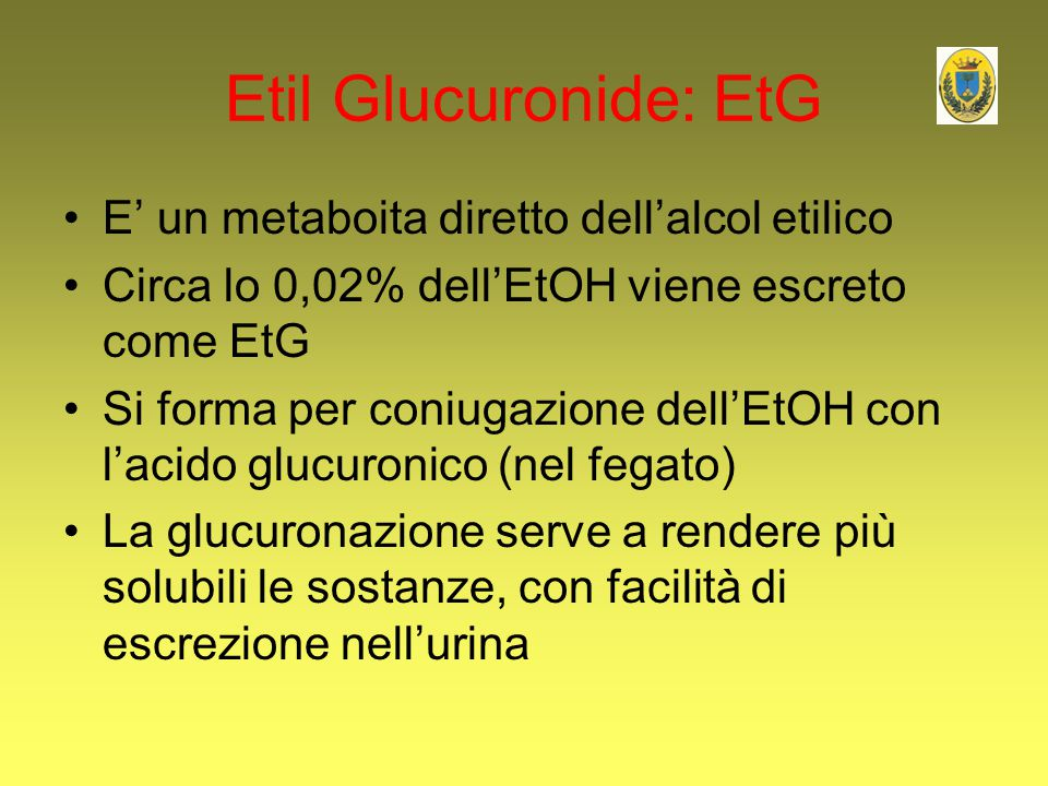 Etil Glucuronide: EtG E' un metaboita diretto dell'alcol etilico Circa lo 0,02% dell'EtOH viene escreto come EtG Si forma per coniugazione dell'EtOH c