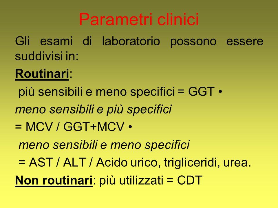 Parametri clinici Gli esami di laboratorio possono essere suddivisi in: Routinari: più sensibili e meno specifici = GGT meno sensibili e più specifici