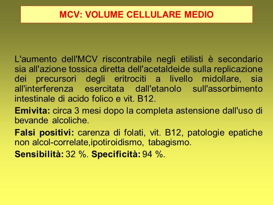 MCV: VOLUME CELLULARE MEDIO L'aumento dell'MCV riscontrabile negli etilisti è secondario sia all'azione tossica diretta dell'acetaldeide sulla replica