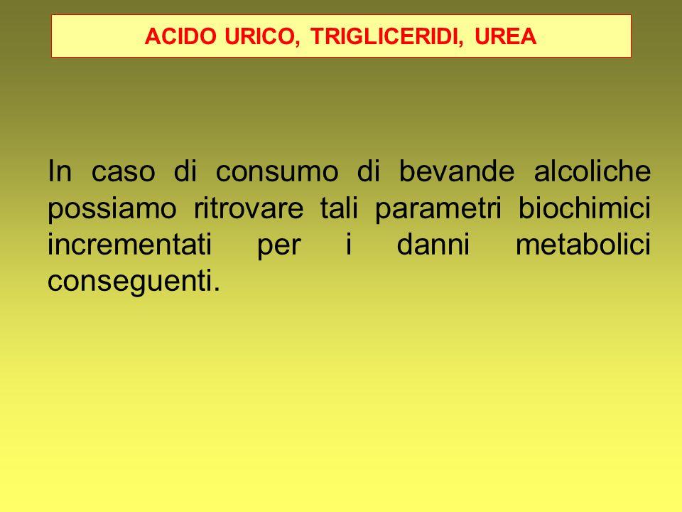 ACIDO URICO, TRIGLICERIDI, UREA In caso di consumo di bevande alcoliche possiamo ritrovare tali parametri biochimici incrementati per i danni metaboli