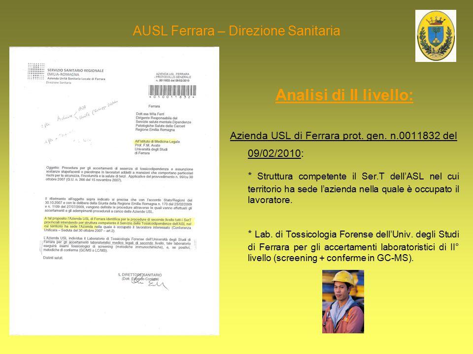 AUSL Ferrara – Direzione Sanitaria Analisi di II livello: Azienda USL di Ferrara prot. gen. n.0011832 del 09/02/2010: * Struttura competente il Ser.T