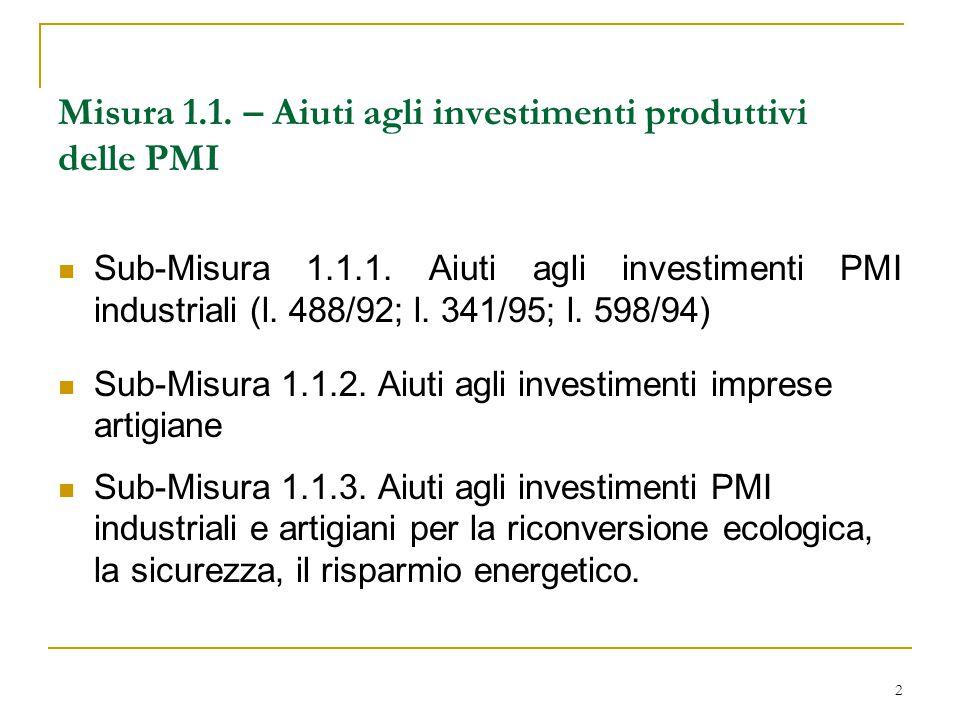 2 Misura 1.1. – Aiuti agli investimenti produttivi delle PMI Sub-Misura 1.1.1. Aiuti agli investimenti PMI industriali (l. 488/92; l. 341/95; l. 598/9