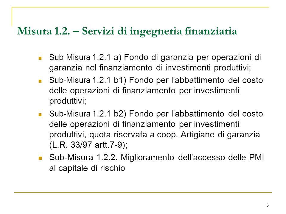 3 Misura 1.2. – Servizi di ingegneria finanziaria Sub-Misura 1.2.1 a) Fondo di garanzia per operazioni di garanzia nel finanziamento di investimenti p