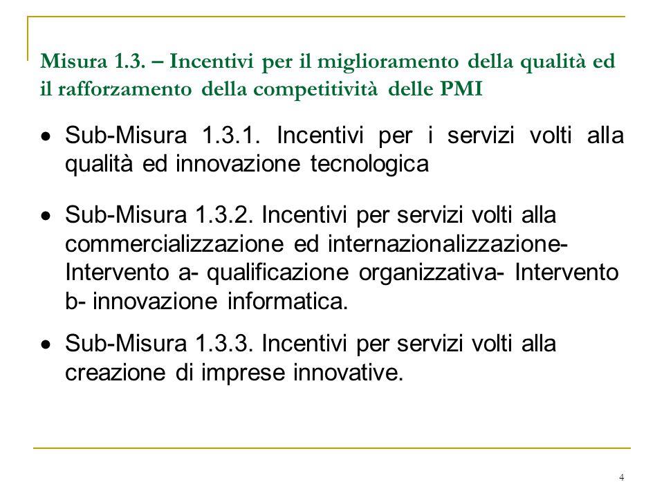 4 Misura 1.3. – Incentivi per il miglioramento della qualità ed il rafforzamento della competitività delle PMI  Sub-Misura 1.3.1. Incentivi per i ser