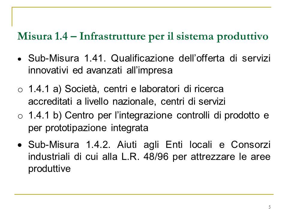5 Misura 1.4 – Infrastrutture per il sistema produttivo  Sub-Misura 1.41. Qualificazione dell'offerta di servizi innovativi ed avanzati all'impresa o