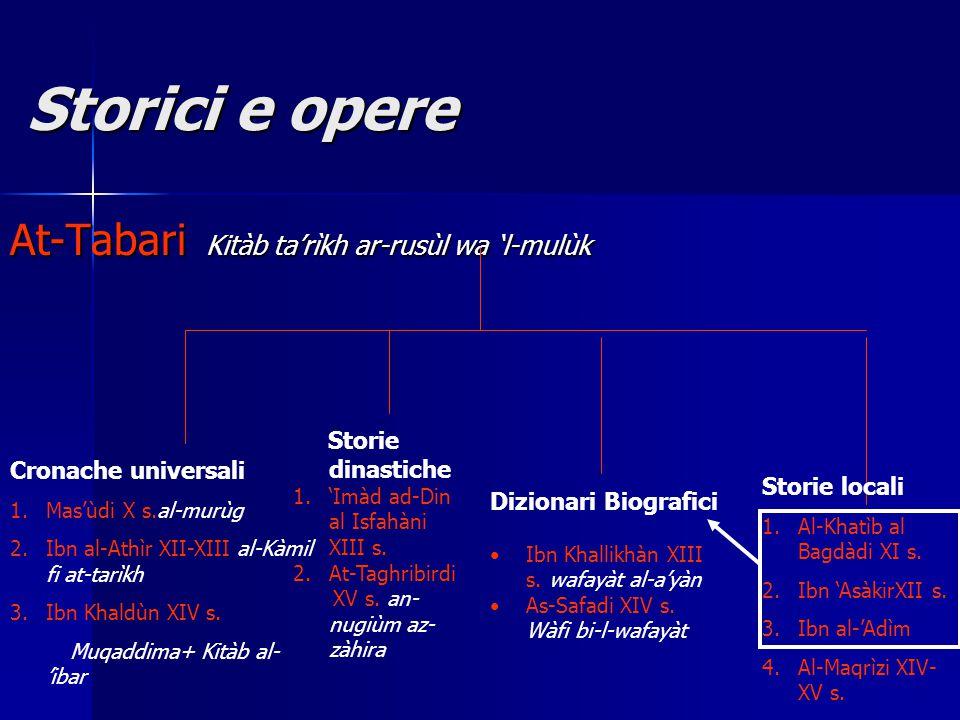Storici e opere Storici e opere At-Tabari Kitàb ta'rìkh ar-rusùl wa 'l-mulùk Cronache universali 1.Mas'ùdi X s.al-murùg 2.Ibn al-Athìr XII-XIII al-Kàmil fi at-tarìkh 3.Ibn Khaldùn XIV s.