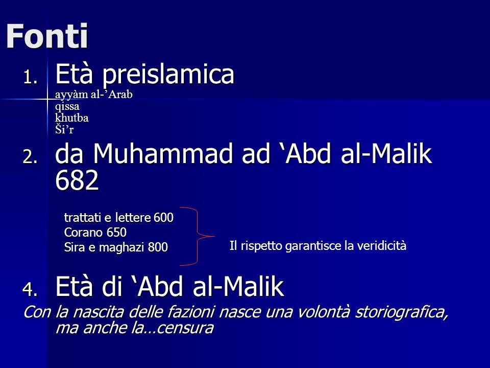 Fonti 1.Età preislamica ayyàm al-'Arab qissa khutba Ši'r 2.