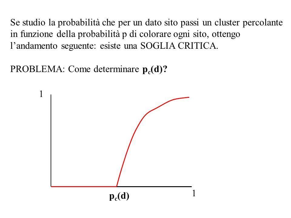 1 1 p c (d) Se studio la probabilità che per un dato sito passi un cluster percolante in funzione della probabilità p di colorare ogni sito, ottengo l'andamento seguente: esiste una SOGLIA CRITICA.