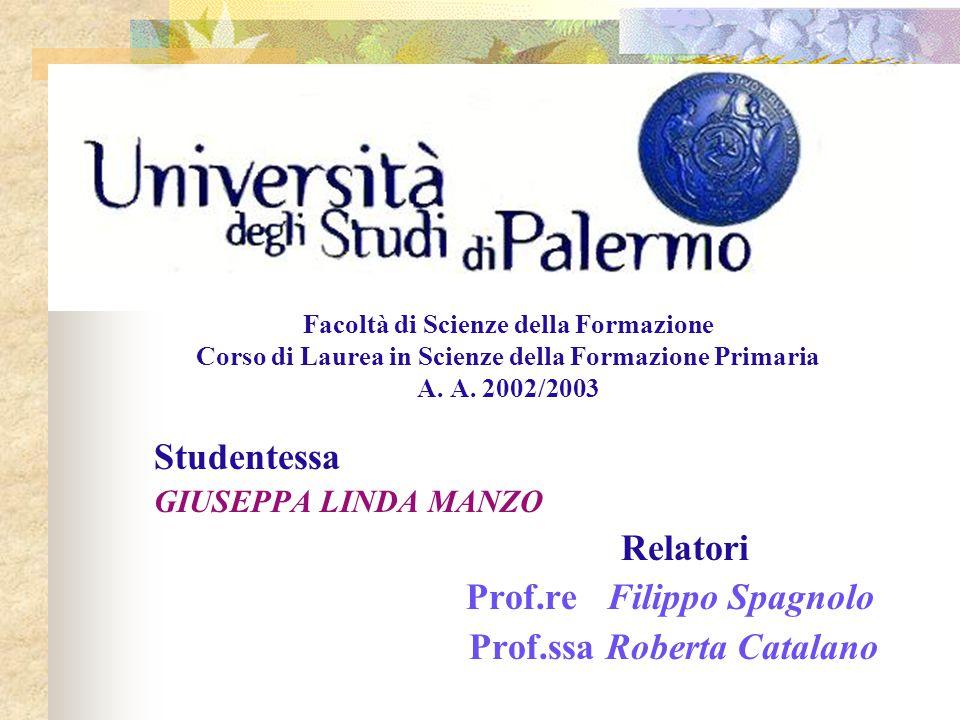 Facoltà di Scienze della Formazione Corso di Laurea in Scienze della Formazione Primaria A. A. 2002/2003 Studentessa GIUSEPPA LINDA MANZO Relatori Pro
