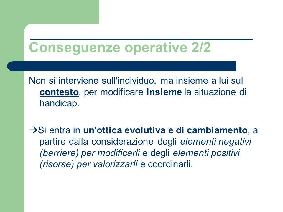 Conseguenze operative 2/2 contesto Non si interviene sull individuo, ma insieme a lui sul contesto, per modificare insieme la situazione di handicap.