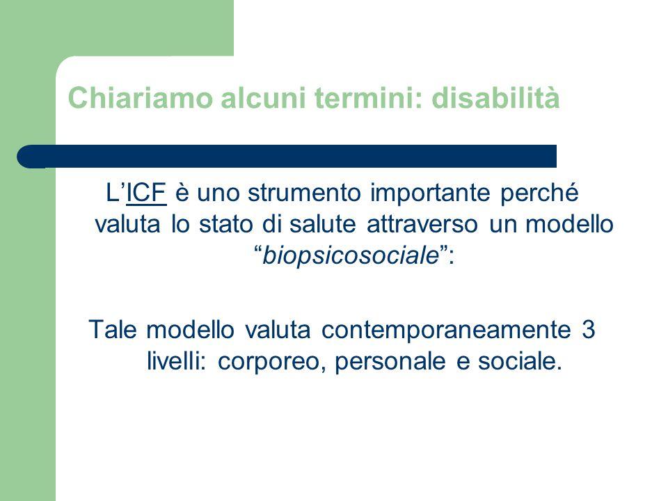 Chiariamo alcuni termini: disabilità L'ICF è uno strumento importante perché valuta lo stato di salute attraverso un modello biopsicosociale : Tale modello valuta contemporaneamente 3 livelli: corporeo, personale e sociale.