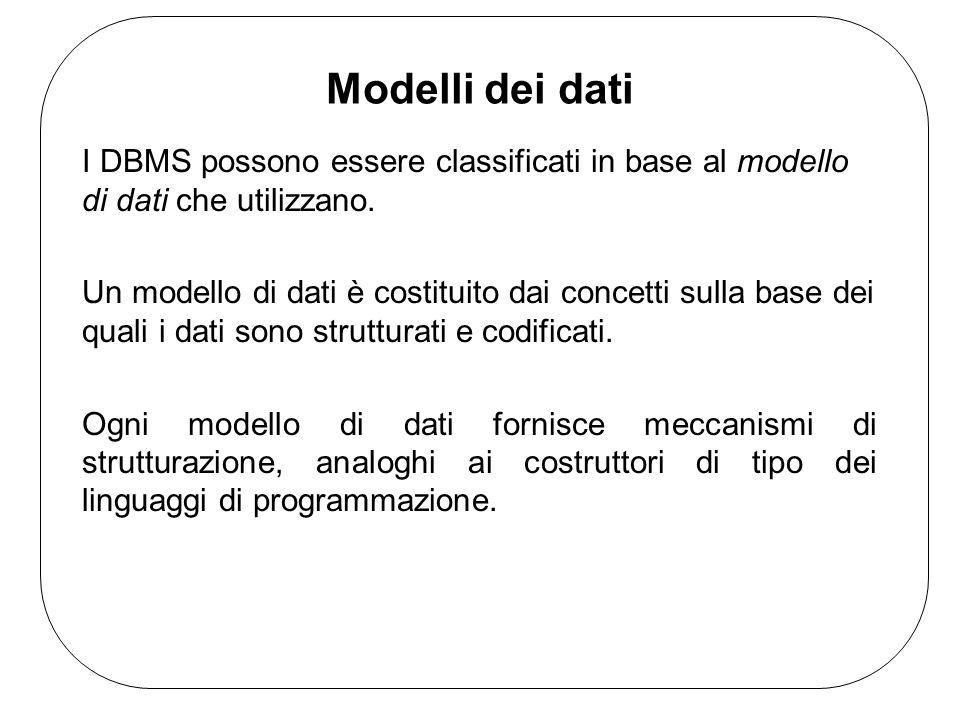 Modelli dei dati I DBMS possono essere classificati in base al modello di dati che utilizzano.