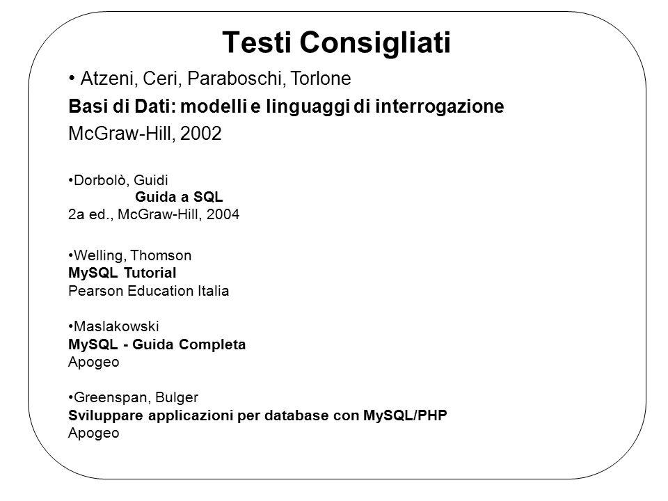 Testi Consigliati Atzeni, Ceri, Paraboschi, Torlone Basi di Dati: modelli e linguaggi di interrogazione McGraw-Hill, 2002 Dorbolò, Guidi Guida a SQL 2a ed., McGraw-Hill, 2004 Welling, Thomson MySQL Tutorial Pearson Education Italia Maslakowski MySQL - Guida Completa Apogeo Greenspan, Bulger Sviluppare applicazioni per database con MySQL/PHP Apogeo