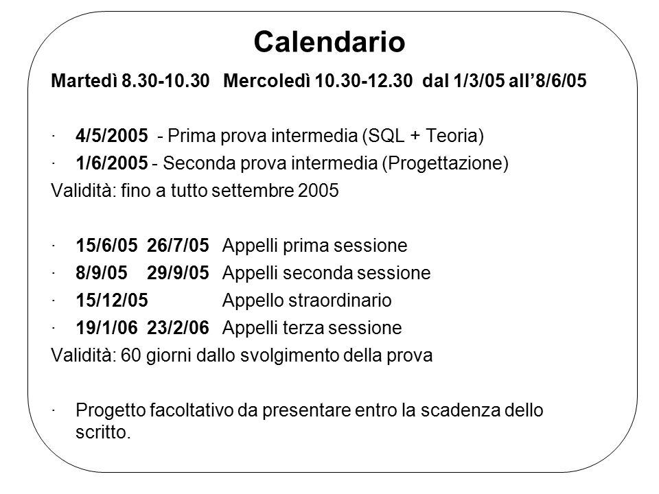 Calendario Martedì 8.30-10.30 Mercoledì 10.30-12.30 dal 1/3/05 all'8/6/05 ·4/5/2005 - Prima prova intermedia (SQL + Teoria) ·1/6/2005 - Seconda prova intermedia (Progettazione) Validità: fino a tutto settembre 2005 ·15/6/05 26/7/05 Appelli prima sessione ·8/9/05 29/9/05 Appelli seconda sessione ·15/12/05 Appello straordinario ·19/1/06 23/2/06 Appelli terza sessione Validità: 60 giorni dallo svolgimento della prova ·Progetto facoltativo da presentare entro la scadenza dello scritto.