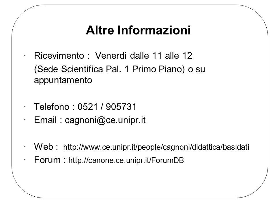 Altre Informazioni ·Ricevimento : Venerdì dalle 11 alle 12 (Sede Scientifica Pal. 1 Primo Piano) o su appuntamento ·Telefono : 0521 / 905731 ·Email :
