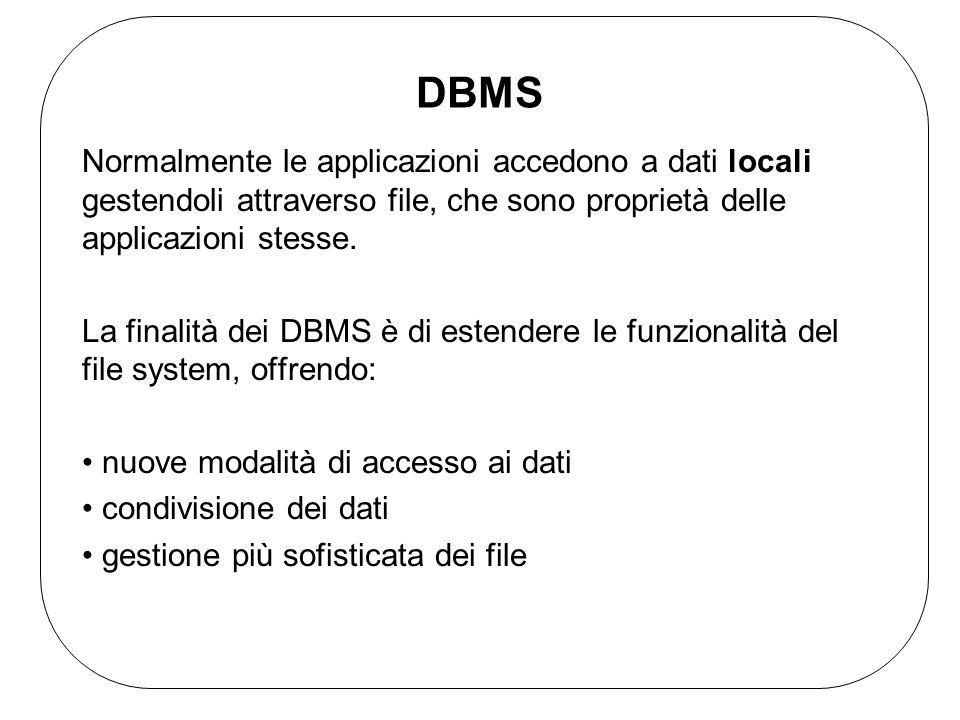 DBMS Normalmente le applicazioni accedono a dati locali gestendoli attraverso file, che sono proprietà delle applicazioni stesse. La finalità dei DBMS