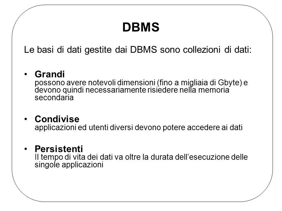 DBMS Le basi di dati gestite dai DBMS sono collezioni di dati: Grandi possono avere notevoli dimensioni (fino a migliaia di Gbyte) e devono quindi necessariamente risiedere nella memoria secondaria Condivise applicazioni ed utenti diversi devono potere accedere ai dati Persistenti Il tempo di vita dei dati va oltre la durata dell'esecuzione delle singole applicazioni