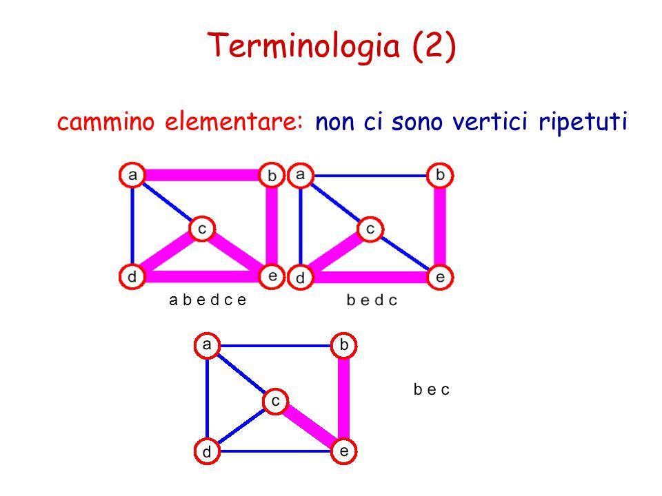 ciclo: cammino semplice, tranne che per il primo vertice che coincide con l'ultimo grafo connesso: qualsiasi coppia di vertici è unita da almeno un cammino Terminologia (3)