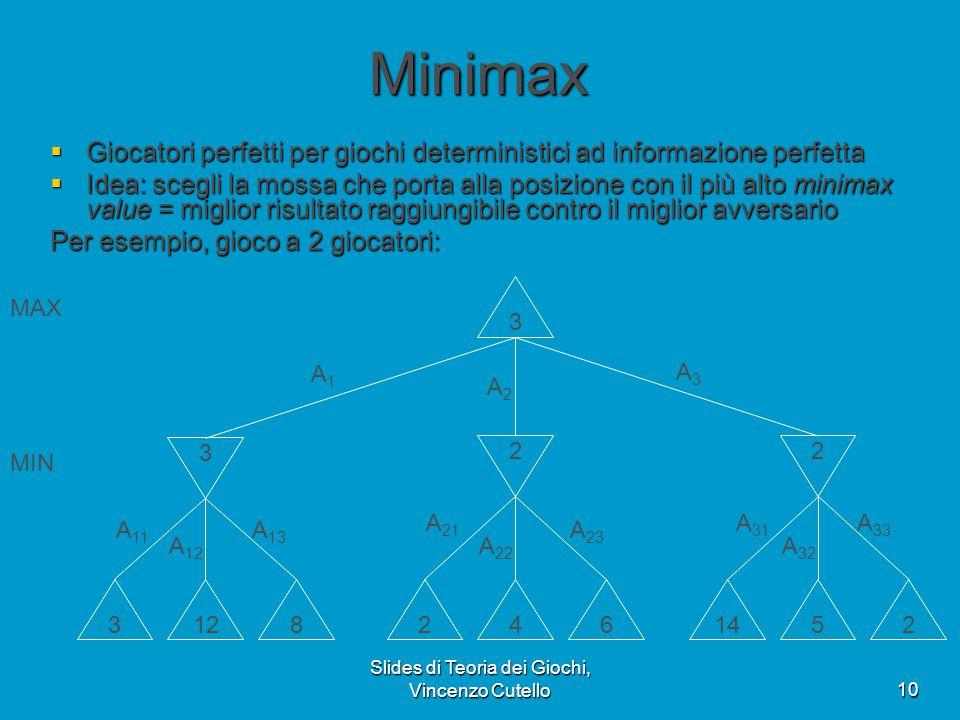 Slides di Teoria dei Giochi, Vincenzo Cutello10 Minimax  Giocatori perfetti per giochi deterministici ad informazione perfetta  Idea: scegli la moss