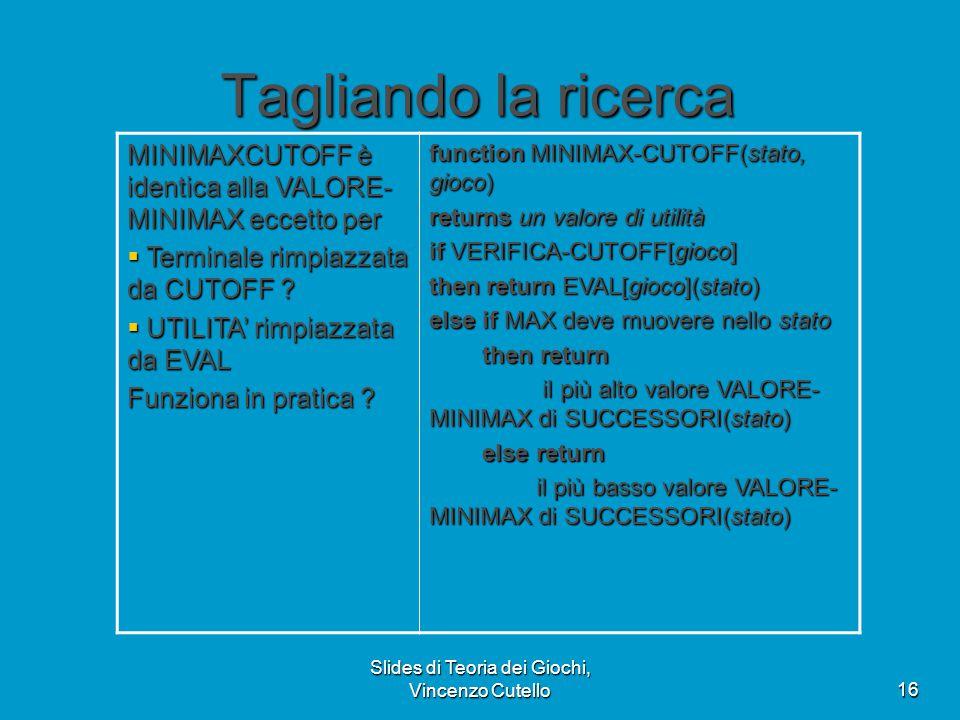 Slides di Teoria dei Giochi, Vincenzo Cutello16 Tagliando la ricerca MINIMAXCUTOFF è identica alla VALORE- MINIMAX eccetto per  Terminale rimpiazzata da CUTOFF .