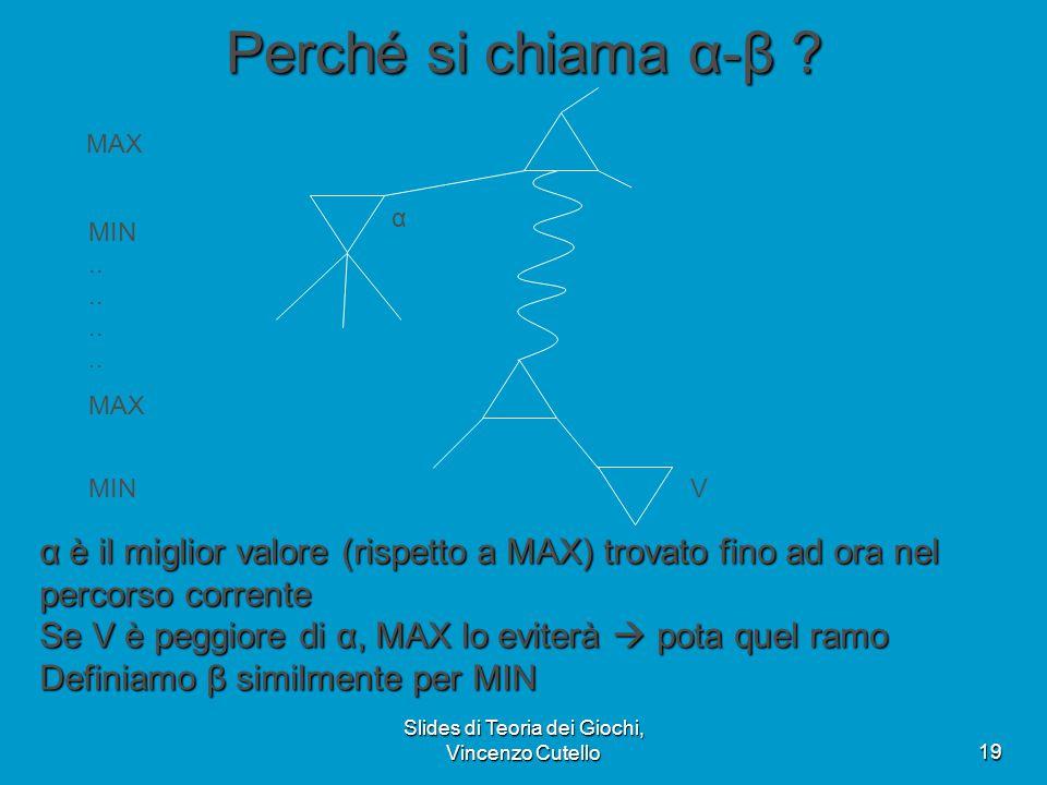 Slides di Teoria dei Giochi, Vincenzo Cutello19 Perché si chiama α-β ? α è il miglior valore (rispetto a MAX) trovato fino ad ora nel percorso corrent