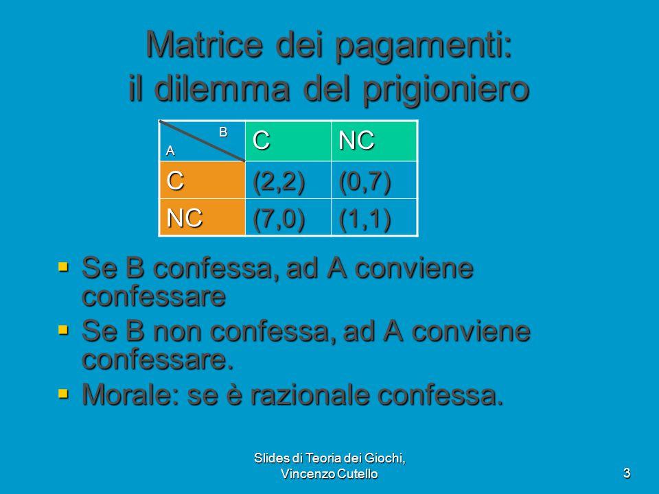 Slides di Teoria dei Giochi, Vincenzo Cutello3 Matrice dei pagamenti: il dilemma del prigioniero  Se B confessa, ad A conviene confessare  Se B non confessa, ad A conviene confessare.