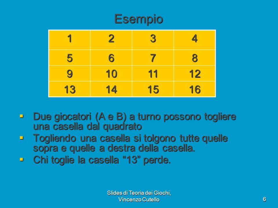Slides di Teoria dei Giochi, Vincenzo Cutello6 Esempio  Due giocatori (A e B) a turno possono togliere una casella dal quadrato  Togliendo una casella si tolgono tutte quelle sopra e quelle a destra della casella.