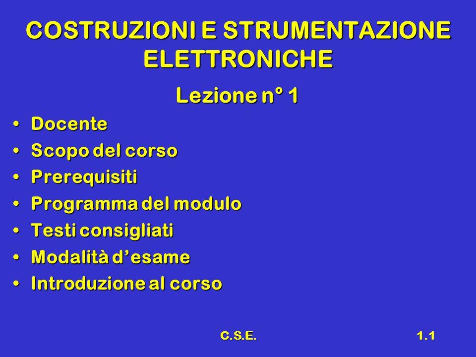 C.S.E.1.1 COSTRUZIONI E STRUMENTAZIONE ELETTRONICHE Lezione n° 1 DocenteDocente Scopo del corsoScopo del corso PrerequisitiPrerequisiti Programma del