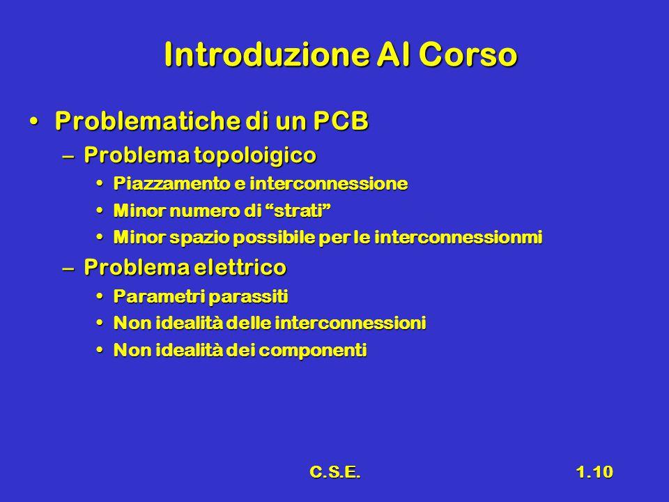 C.S.E.1.10 Introduzione Al Corso Problematiche di un PCBProblematiche di un PCB –Problema topoloigico Piazzamento e interconnessionePiazzamento e inte